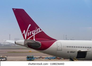 LONDON HEATHROW AIRPORT - JUNE 2018: Tail fin of a Virgin Atlantic Boeing 787 Dreamliner at London Healthrow airport.