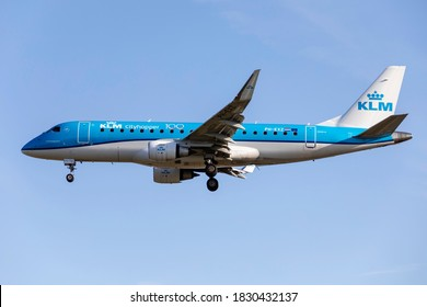 London Heathrow Airport (LHR), 10th September 2020 KLM Cityhopper passenger aircraft PH-EXZ an ERJ 0 175STD arrives at the airport in fine weather.