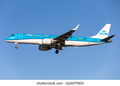 London Heathrow Airport (LHR), 19th January 2020 KLM Cityhopper passenger aircraft PH-EZL an Embraer 190 – 100STD arrives at the airport in fine weather.