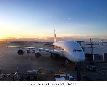 London Heathrow Airport, UK - 26th August 2016: Malaysian airline Airbus A380 aircraft parked at London Heathrow Airport, conceptual image for air travel, London, UK