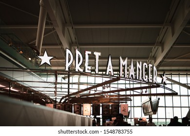 London Heathrow airport / UK - 30 Oct 2019 : The signage of Pret a Manger