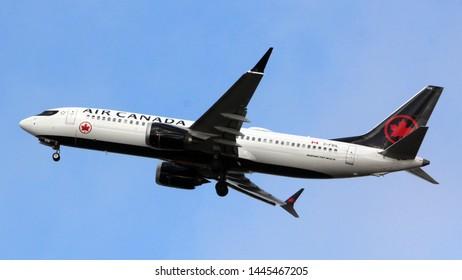 London Heathrow UK 19th February 2019 : Air Canada Boeing 737 max leaving Heathrow on 27L runway