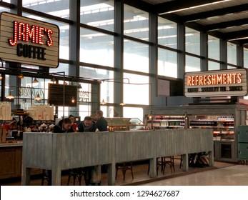 London Heathrow, UK - 21st  January 2019: Jamie's Coffee, at terminal of London Heathrow terminal 5 airport.