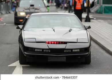 LONDON - JAN 01, 2018: Knight Rider Car K.I.T.T takes part in the New Year's Day Parade 2018, Waterloo Place, London