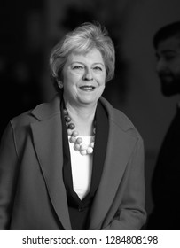 LONDON - JAN 06, 2019: ( Image digitally altered to monochrome ) Theresa May British Prime Minister seen arriving to the Andrew Marr show at the BBC studios