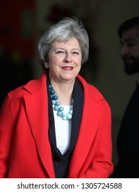 LONDON - JAN 06, 2019: Theresa May  British Prime Minister seen leaving the Andrew Marr Show at the BBC studios