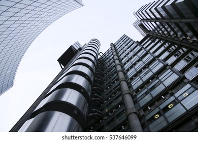 London - Jan 17, 2009: The Lloyds building in London, UK. Originally built in 1928 (design by R. Rogers), demolished and reconstructed and opened by Queen Elizabeth II in 1986.
