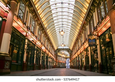 London - Jan 17, 2009: Shops pubs and restaurants inside the covered Victorian arcade of the Leadenhall Market, built in the 19th century and frequently featured in films and television.