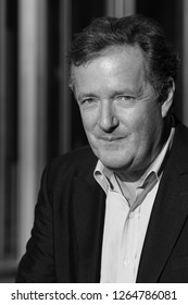 LONDON - JAN 22, 2017: ( Image digitally altered to monochrome )  Piers Morgan seen at the BBC Studios in London