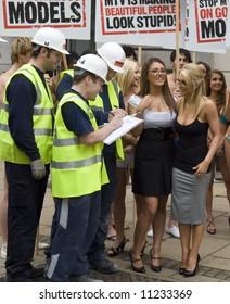London Jan 23  Lucy Pinder, Kayleigh Pearson at MTV  Against Model Testing PR stunt