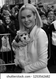 LONDON - JAN 28, 2017: ( Image digitally altered to monochrome ) Amanda Holden arrives for the Britain's Got Talent auditions at the London Palladium