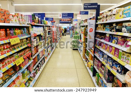 LONDON - JAN 28:  Aisle view of a Tesco supermarket on Jan 28, 2015 in London, UK. Britain's Tesco is the world's third largest supermarket retailer after America's Walmart and France's Carrefour.