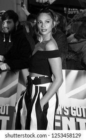 LONDON - JAN 29, 2017: ( Image digitally altered to monochrome )  Alesha Dixon arrives for the Britain's Got Talent auditions at the London Palladium