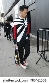 LONDON - JAN 6, 2018: Guest showing street style at London Fashion Week Men's Fall Winter 2018