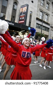 LONDON - JANUARY 01: American Cheerleaders participate in the New Years Day Parade on January 01, 2012 in London, UK. More than 10,000 performers represent for 20 countries world-wide.