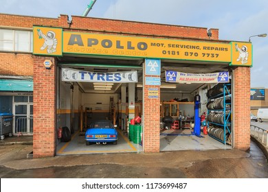 LONDON - January 1, 2018: Apollo Service Centre is Wandsworth's first for Servicing, Repairs and MOT's  on Armoury Way. It supply tyres, exhausts and other mechanical equipment for car.