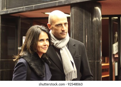 LONDON - JANUARY 10: Mark Strong and wife Liza Marshall attend the London film premier of 'Shame' at the Curzon cinema, Mayfair in London, England on January 10, 2012.