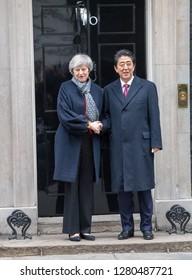 LONDON JANUARY 10TH 2019  Shirizo Abe Prime Minister of Japan, visits Theresa May MP PC, Prime Minister at 10 Downing Street, London