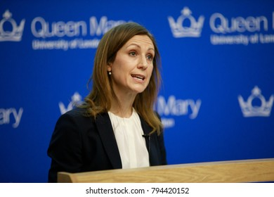 LONDON - JANUARY 15, 2018 Professor Silvana Tenreyo delivering the annual Peston lecture at Queen Mary University of London on monetary policy