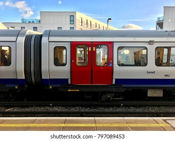 LONDON - JANUARY 17, 2018: A District Line Underground train at Parsons Green Tube station in West London, UK.