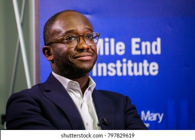 LONDON - JANUARY 18, 2018: Minister fof Higher Education, Sam Gyimah MP, address an audience at Queen Mary University of London at the Mile End Campus for the Mile End Institute