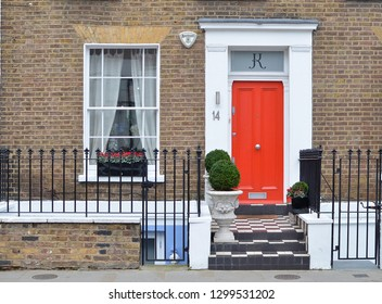 LONDON - JANUARY 19, 2019.  Ground floor facade of an eighteenth century terraced house in the Notting Hill Gate district of London, UK.