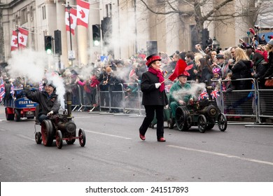 LONDON - JANUARY 1ST: New years day parade  on January the 1st 2015 in London, England, UK. The Big Bertha is the worlds largest drum