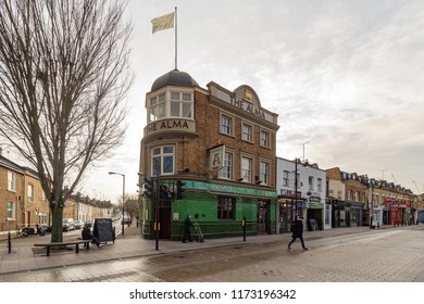 LONDON - January 2, 2018: THE ALMA, WANDSWORTH is quintessentially British Victorian pub. It Standing in heart of Wandsworth Town is steeped in history and famous amongst the locals.