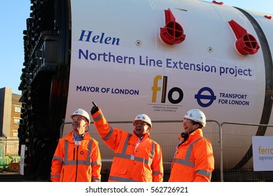 London, January 2017. Mark Wild, London Underground MD, Wandsworth Council leader Ravi Govindia & Val Shawcross, Deputy Mayor for Transport pose in front of a Northern Line Tunnel Boring Machine