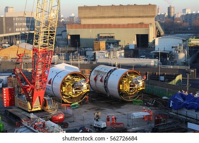 London, January 2017. Two Tunnel Boring Machines which will construct the extension of the London Underground's Northern Line from Kennington to Battersea are displayed to the media.