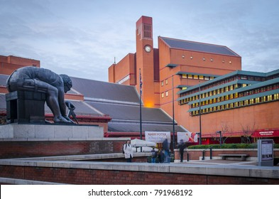 LONDON- JANUARY, 2018: The British Library on Euston Road, London, the 2nd biggest library in the world.  Exterior of entrance and forecourt.