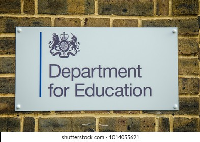 LONDON- JANUARY, 2018:  Department for Education government office in Westminster, London. Exterior signage at entrance to building.