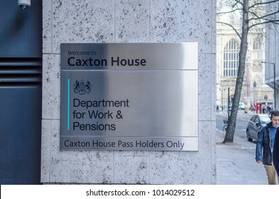 LONDON- JANUARY, 2018: Department for Work & Pensions building, Caxton House, Westminster. UK Government Office exterior entrance sign.