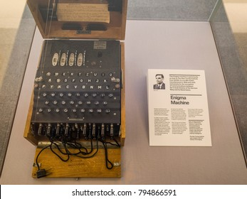 LONDON- JANUARY, 2018: An enigma machine on display outside the Alan Turing Institute entrance inside the British Library, London.