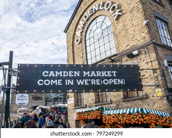 LONDON- JANUARY, 2018: Entrance to Camden Market and Camden Locks in North London- a vibrant street food market popular with tourists and party goers.