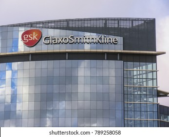 LONDON- JANUARY, 2018: Exterior of the Glaxosmithkline pharmaceuticals headquarters in Brentford, west London