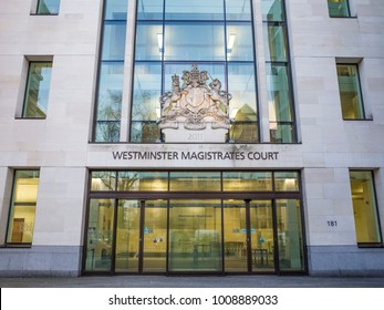 LONDON- JANUARY, 2018: Exterior of Westminster Magistrates Court on Marylebone Road, London.