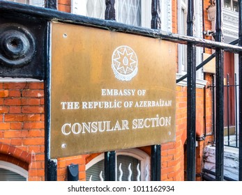 London, January, 2018. A front external view of the sign outside the embassy of the republic of Azerbaijan, on Kensington Court,  in Kensington.