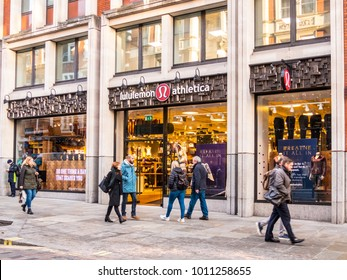 London, January, 2018. A front external view of the Lululemon store on Long Acre in Covent garden.