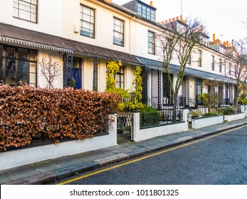 London, January 2018. A front external view of houses on St Albans Grove, in Kensington.