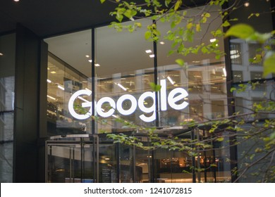 LONDON- JANUARY, 2018: Google headquarters offices in London, exterior and logo by main entrance