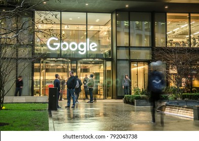 LONDON- JANUARY, 2018: Google headquarters offices in London close to St Pancras International and Kings Cross train stations.