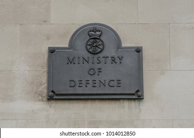LONDON- JANUARY, 2018: Ministry of Defence UK ministerial office in Whitehall. Close up of sign and logo at the entrance.