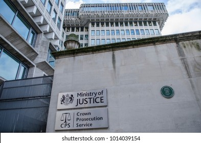 LONDON- JANUARY, 2018: Ministry of Justice & Crown Prosecution Service government office building, Westminster.