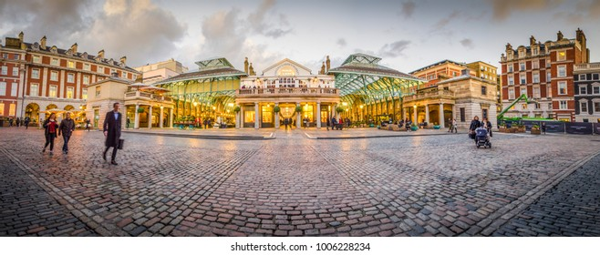 LONDON- JANUARY, 2018: Panoramic view of Covent Garden market, an iconic landmark at the heart of London's West End popular for its fashion shops and food outlets