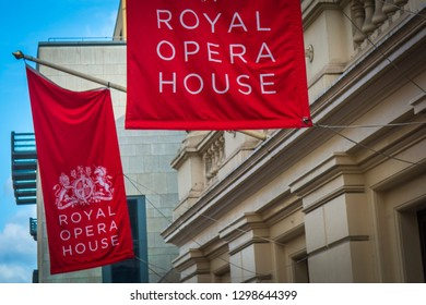 LONDON- JANUARY 2018: Royal Opera House exterior, a world famous Opera venue in Covent Garden, London's West End
