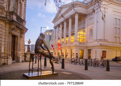 LONDON- JANUARY, 2018: Royal Opera House and the Ballerina Statue. A famous ballet and opera venue in the Covent Garden area of London's West End