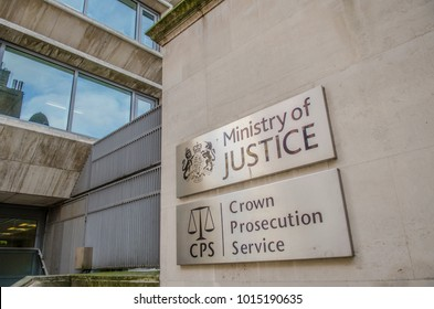 LONDON- JANUARY, 2018: Signs for the Ministry of Justice & Crown Prosecution Service on the exterior of the government office building.