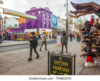 LONDON- JANUARY, 2018: London street scene on Camden High Street, a vibrant and fashionable shopping and entertainment area of north west London.