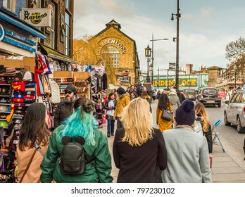 LONDON- JANUARY, 2018: View of Camden High Street and Camden Locks- a vibrant area of north London popular with tourists for shops and food outlets